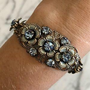 Vintage Victorian Austrian Crystal Floral Bracelet